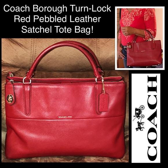 coach bags borough turnlock leather satchel tote bag poshmark rh poshmark com